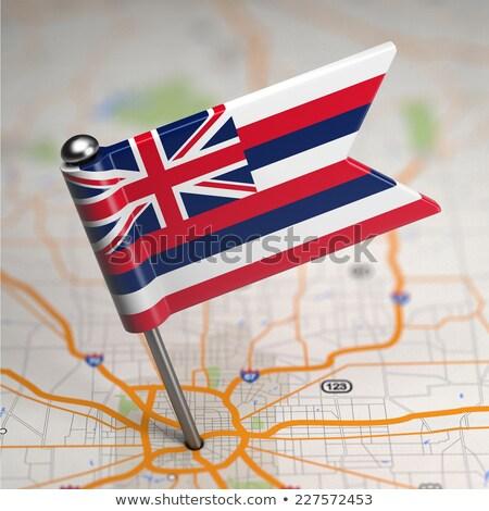 Hawaii kicsi zászló térkép szelektív fókusz háttér Stock fotó © tashatuvango
