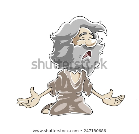 Kneeling poor old man crying and pleading. Stock photo © Norberthos