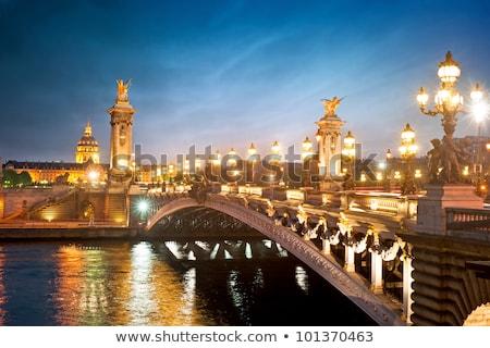 híd · Eiffel-torony · Párizs · folyó · ibolya · Franciaország - stock fotó © andreykr