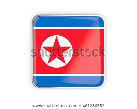 Square metal button with flag of north korea Stock photo © MikhailMishchenko