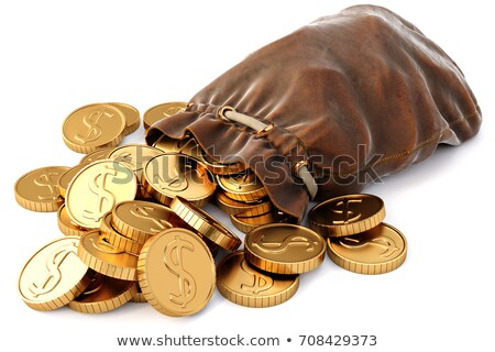 Golden dollar coins spilling from a bag Stock photo © ozgur