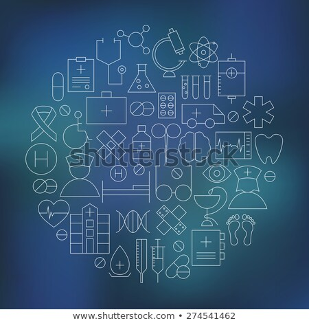 medical and health care line icons set over blurred background stock photo © anna_leni