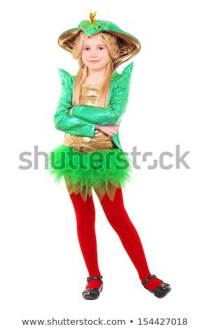Stockfoto: Meisje · carnaval · kostuum · geïsoleerd · witte