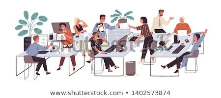Stockfoto: Kantoor · asian · zakenman · vergadering · werken · laptop