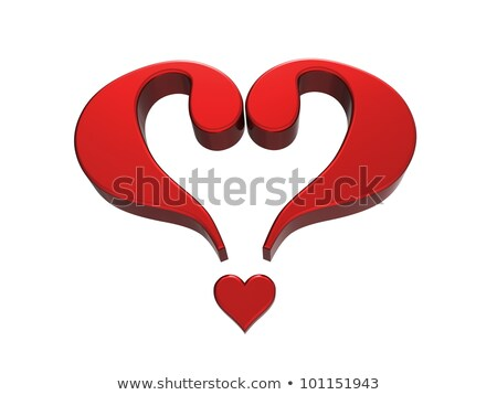 Red heart formed by 2 question marks  Stock photo © shawlinmohd