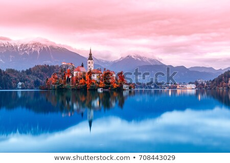 Stock photo: Famous Catholic Church on Island in the Middle of Bled Lake with