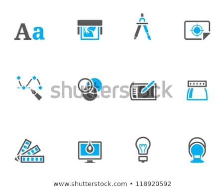 Bombilla azul vector icono diseno luz Foto stock © rizwanali3d