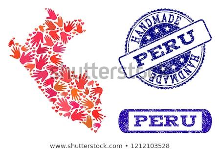 Peru kraju banderą Pokaż tekst Zdjęcia stock © tony4urban