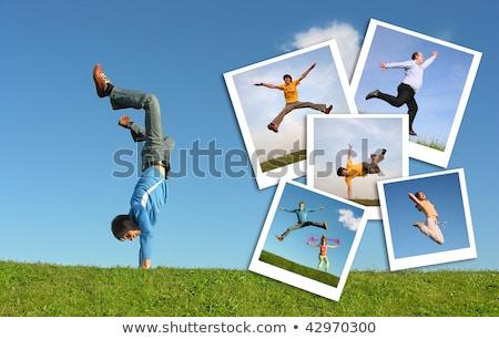 スポーツ · コラージュ · 男性 · テニス · ラグビー · 笑みを浮かべて - ストックフォト © paha_l