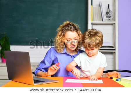 children painting with his mothers Stock photo © Paha_L