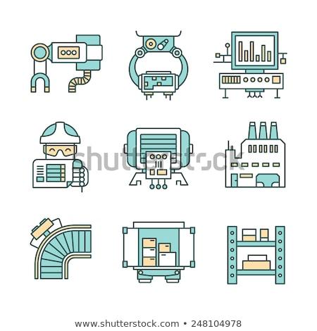 üretim · hat · ikon · endüstriyel · işçi · bilgisayar · monitörü - stok fotoğraf © rastudio