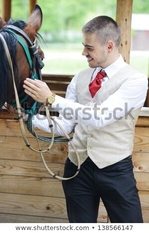 equitación · hombre · semental · formación · escuela - foto stock © zurijeta
