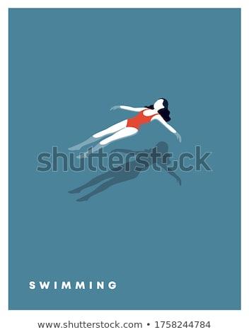 простой девушки пляж иллюстрация белый фон Сток-фото © bluering
