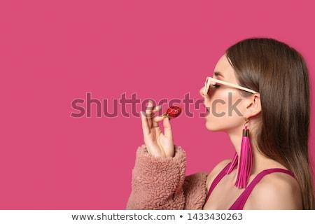 женщину · клубника · профиль · изолированный - Сток-фото © anna_om