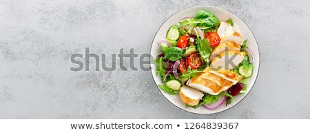 Stockfoto: Kipfilet · salade · filet · gemengd