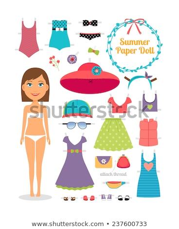 illusztráció · lány · tengerpart · rövidnadrág · kalap · nő - stock fotó © vectorikart