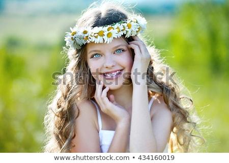 Kleines Mädchen Hosenträger Illustration Mädchen Kind Hintergrund Stock foto © bluering