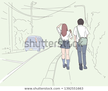 Simple drawing of two Asian people Stock photo © bluering