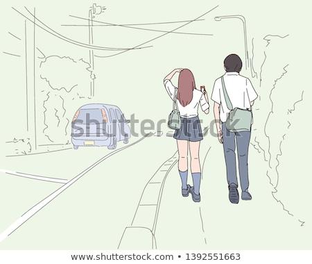 Egyszerű rajz kettő ázsiai emberek illusztráció Stock fotó © bluering