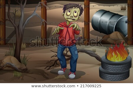 Zumbi pneus barril ilustração paisagem caminhada Foto stock © bluering