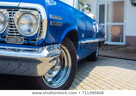 Headlight Detail of Blue Classic car. Stock photo © kyolshin