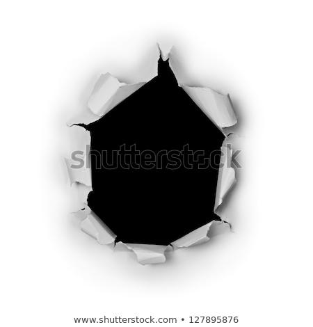 прорыв бумаги дыра рваной бумаги металл Сток-фото © Krisdog