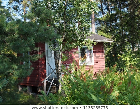 idyllic small red holiday cottages at a lake shore stock photo © klinker