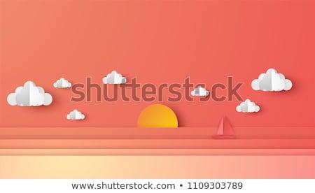 Stockfoto: Schip · zonsondergang · zeegezicht · zon · licht
