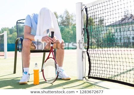 fáradt · férfi · teniszpálya · sport · fitnessz · nyár - stock fotó © deandrobot