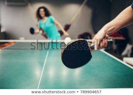 asztalitenisz · játékos · játszik · sport · férfiak · zöld - stock fotó © pedromonteiro