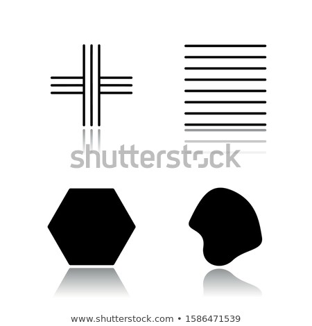 Black filled geometric figures and elements with lines, polyhedr Stock photo © Vanzyst