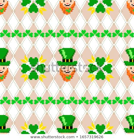 Jour de St Patrick tricoté trèfle fleur feuille croix Photo stock © carodi