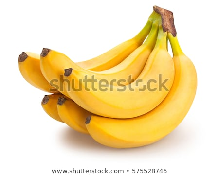 Foto stock: Maduro · amarelo · bananas · branco · isolado · comida