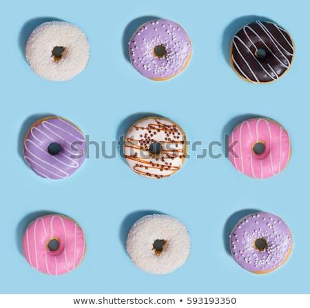 Farbenreich · Donuts · Blau · Tabelle · Foto · Essen