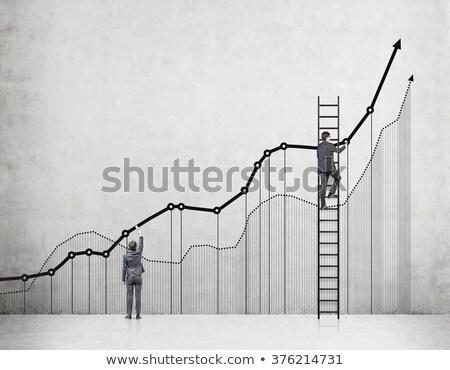 Gráfico de negocio hasta verde flecha 3d Foto stock © Oakozhan