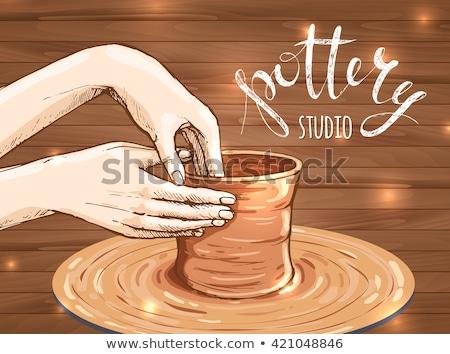 mãos · processo · criação · tigela · mão · lama - foto stock © bsani