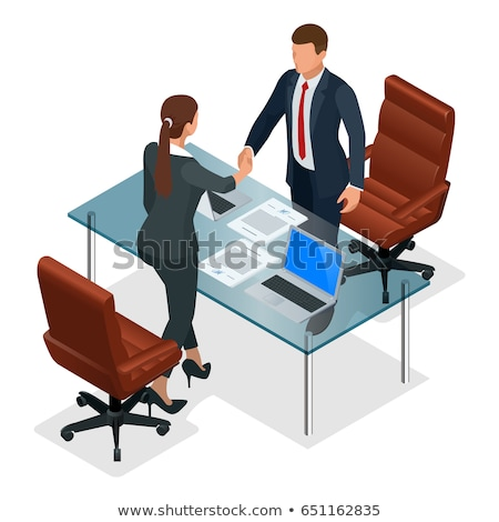 Contract icon. Negotiation of concept. Boss icon and handshake.  Stock photo © popaukropa