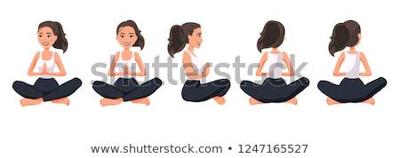 Mosolyog lezser nő ül jóga pozició Stock fotó © feedough