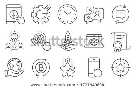 Bitcoin házhozszállítás vektor ikon gyűjtemény stílus üzlet Stock fotó © ahasoft