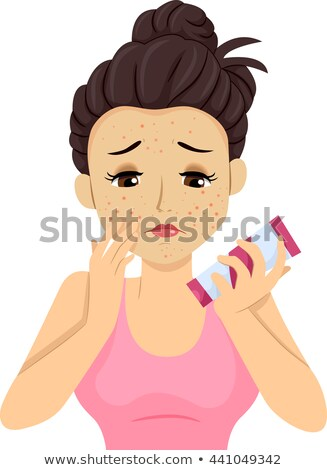 teen girl pimple breakout apply product stock photo © lenm