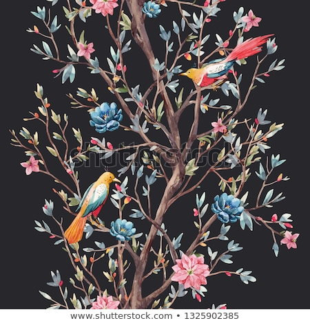 White flowers of bird cherry tree seamless background Stock photo © orensila