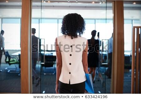 vrouw · opening · voordeur · veiligheid · bescherming · verrassing - stockfoto © is2