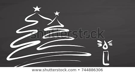 christmas tree covered with snow sketch icon stock photo © rastudio
