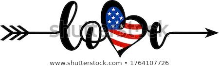 флаг · Америки · формы · сердца · искусства · цвета · белый - Сток-фото © rogistok