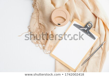 Overhead view of blank clipboard note pad paper with pen Stock photo © stevanovicigor