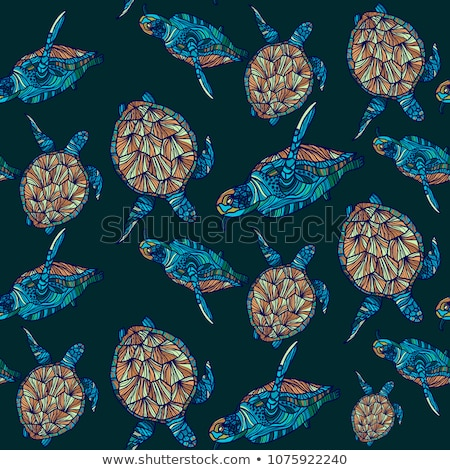 Water Turtle seamless pattern. Marine animal ornament. Reptile w Stock photo © popaukropa