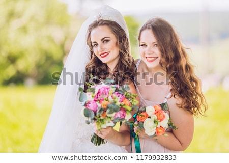portré · menyasszony · koszorúslány · sátor · recepció · nő - stock fotó © is2
