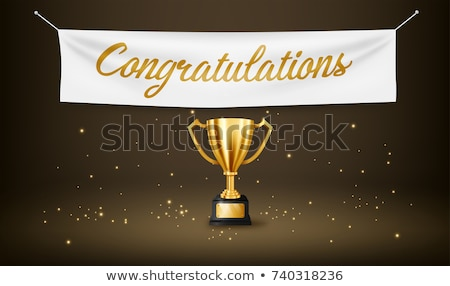 Win celebration banners with golden goblets stock photo © studioworkstock