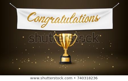 Győzelem ünneplés bannerek arany első hely győzelem Stock fotó © studioworkstock