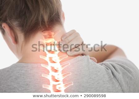 fáradt · nő · üzenetküldés · fájdalmas · nyak · hát - stock fotó © stokkete